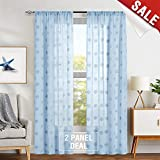 jinchan Sheer Curtain Blue for Living Room Turqoise 84″ Summer Sea Shells Pattern Winow Curtain Set Starfish Flax Textured Curtains Retro Sheers for Bedroom Curtain Panels 2 Panels Review