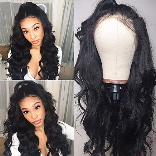 HC Hair 8A Body Wave Lace Front Wigs for Black Women 150% Denisity Peruvian Wet and Wavy Virgin Hair 13x4 Lace Wigs Pre Plucked (22inch)]()