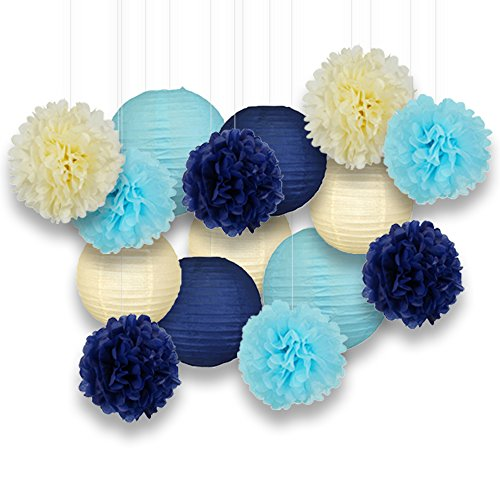 Just Artifacts Decorative Paper Party Pack (15pcs) Paper Lanterns and Pom Pom Balls - Ivory/Blues - Paper Lanterns and Décor for Birthday Parties, Baby Showers, Weddings and Life Celebrations!