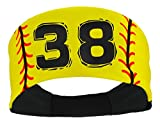 MadSportsStuff Player ID Softball Stitch Headband (Yellow, 38)