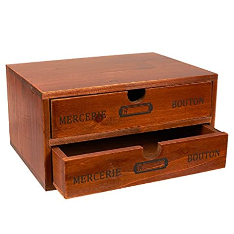 Set of 2 Organizer Holder Storage Drawers - Decorative Wooden Drawers with Chic French Design - 9.75 x 7 x 5 inches