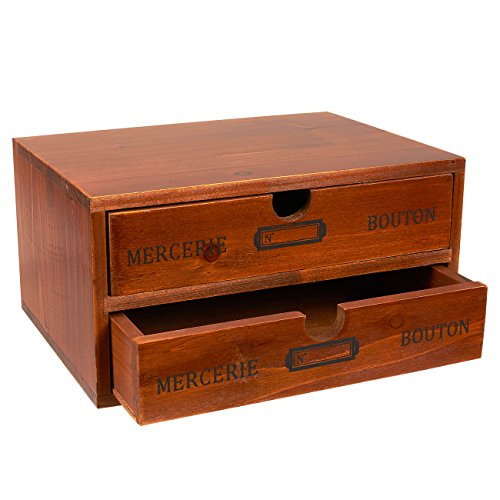 Organizer Holder Storage Drawers - 9.75 x 7 x 5 inches Small Decorative Wooden Drawers with Chic French Design - 9.75 x 7 x 5 inches