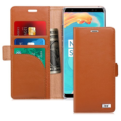 FYY [Genuine Leather] Wallet Case for Samsung Galaxy Note 8 2017, Handmade Flip Folio Wallet Case with Kickstand Card Slots Magnetic Closure for Samsung Galaxy Note 8 2017 Dark - Wallet Leather Phone Case Fire