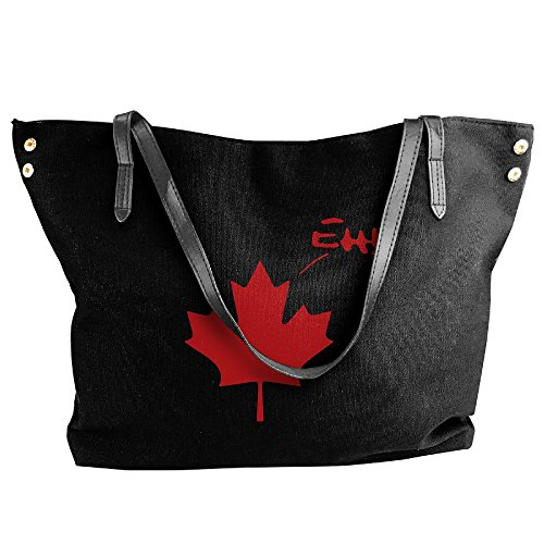 Shoulder Hobo Bag Women's Eh Funny Canvas Pride Canadian Large Tote Handbag Black Canada tHPUqvH1