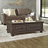 Crossmill Transitional Style 2 drawers with Metal Runners and Safety Stops Coffee Table, Heritage Walnut