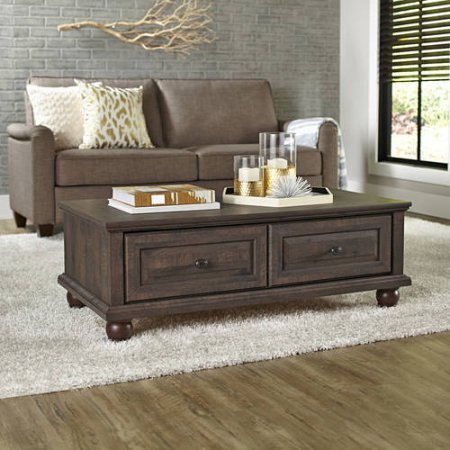Better Homes and Gardens Modern Coffee Table, (44.50 x 23.38 x 15 .75 Inch Crossmill, Heritage Walnut) + Handi Wipes ()