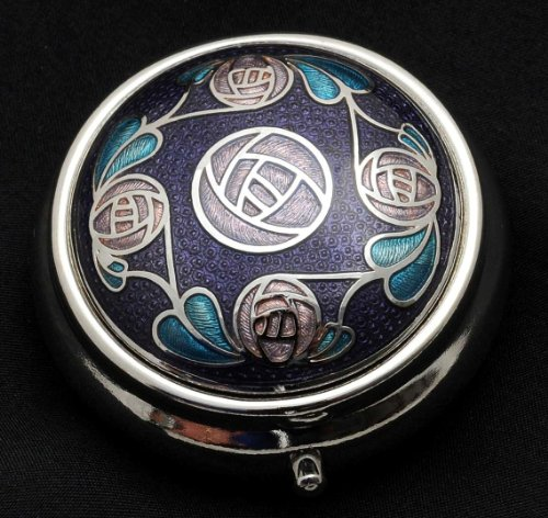 Pill Box (standard size) in a Mackintosh Ring of Roses Design - Round Glasses Architect