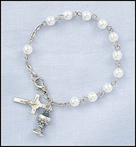 Childrens Girls Imitation Pearl Rosary Bracelet with Chalice & Cross Charm 6mm Bead, Perfect for Christmas, First Communion, Easter, Graduation, Sunday Dress, Christening or Birthday. (Women Sunday Dresses)