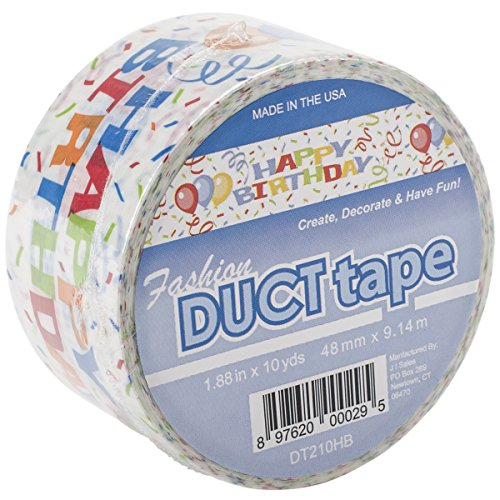 Signature Crafts DT210HB Printed Singles Happy Birthday Fashion Duct Tape, 10 yd (Birthday Duct Tape)