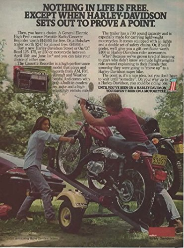 """Vintage Magazine Print Ad: 1977 Harley Davidson Street or On/Off Road 125, 175, 250 cc Motorcycle """"Nothing in life is free..."""""""