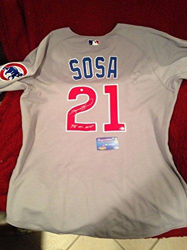 (Sammy Sosa Autographed Signature Chicago Cubs Jersey 98 Nl Mvp Inscription Mounted Memories MLB)