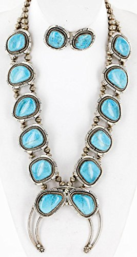 (Handmade Certified Authentic Navajo .925 Sterling Silver Turquoise Squash Blossom Native American Necklace and Earrings Set Ray Begay)