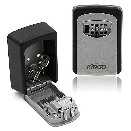 Kingo Combination Key Lock Box Wall Mount 4 Digit Weather Resistant Resettable Key Storage Box