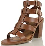 Soda Women's Bullet Faux Leather Open Toe Thick Strappy Double Buckle Stacked Heels