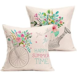 Foozoup Bicycle Bird Farmhouse Outdoor Floral Cotton Line Home Decorative Throw Pillow Case Cushion Cover for Sofa Couch 18 x 18 Inch,Happy Summer Time