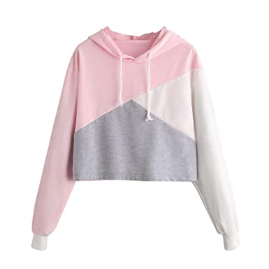a1b486f9efd543 Vicbovo Cropped Hoodie, Women Teen Girl Fashion Color Block Long Sleeve  Hooded Crop Tops Sweatshirt