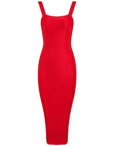 Whoinshop Women's Strap Mid-calf Length Evening Party Bandage Prom Dress