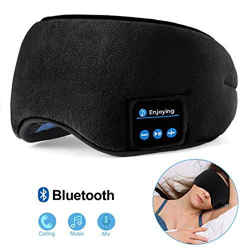 Bluetooth Sleeping Eye Mask, FlyXShop Sleep Headphones Music Travel Sleeping Headset 4.2 Bluetooth Wireless Sleep Eye Mask with Microphone Handsfree and Washable (Black) (Best Bluetooth Headset In India Under 1000)