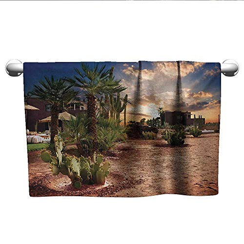 Desert,Yoga Towels Majestic Sky View Palm Trees and Cactus in Oasis Morocco Tropic Nature Bathroom Hand Towels Blue Green Pale Brown W 28