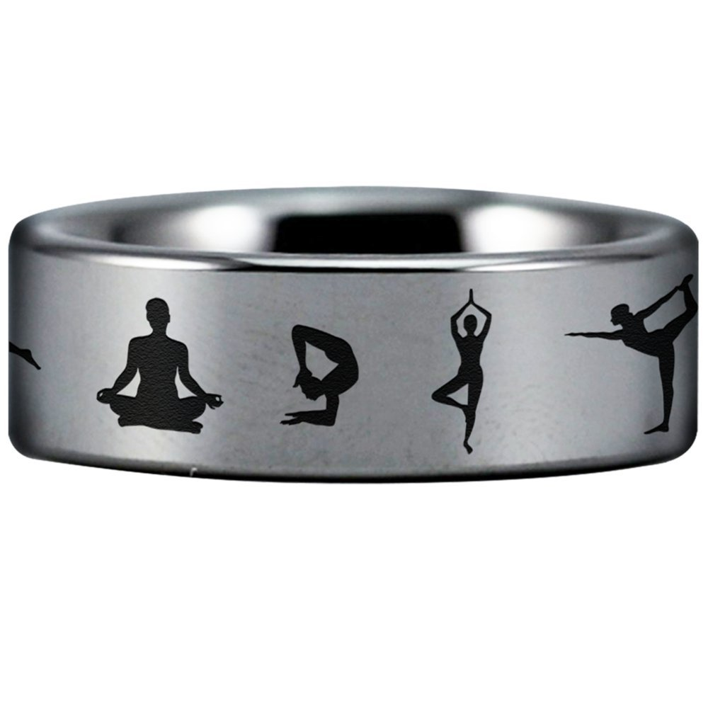 Fine Jewelry Designed Fit for Men and Women Use Focus and Relaxation Friends of Irony Tungsten Carbide Yoga Ring Style Two Wedding Band and Anniversary Ring Inspired by Fitness