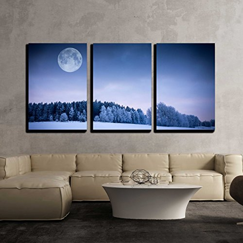 Winter Landscape Field Covered with Snow Frozen Forest and Full Moon x3 Panels