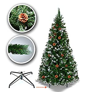 BenefitUSA 5' 6' 7' 7.5' Snow Tipped Christmas Tree with Pine Cones and Steel Stand -Unlit 2