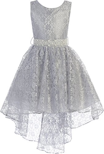 (BNY Corner Big Girl High Low Floral Lace Rhinestones Pearl Belt Easter Pageant Flower Girl Dress Silver 16)