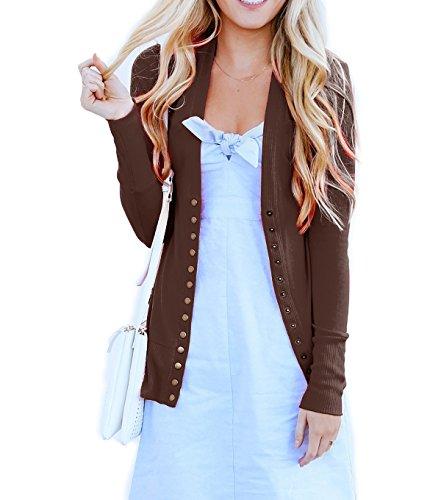 SHOPGLAMLA Womens Snap Button Ribbed Detail Neckline Sweater Knit Cardigan