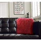 """Authentic Mongolian Tibet Lamb Sheepskin Wool Fur Cushion - 16"""" x 16"""" - Cranberry Red"""
