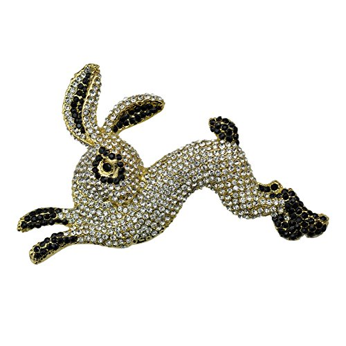 Nouveau Art Pin Brooch (TTjewelry Vintage Black Rabbit Animal Art Nouveau Brooch Pin Austria Crystal)
