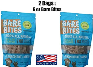 Bare Bites - 100% All Natural Dehydrated Beef Liver Dog and Cat Treats (6 Ounce Bag)
