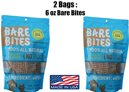 Bare Bites 100% All Natural Dehydrated Beef Liver Dog and Cat Treats (6 Ounce Bag) Dog Beef Cat Treats