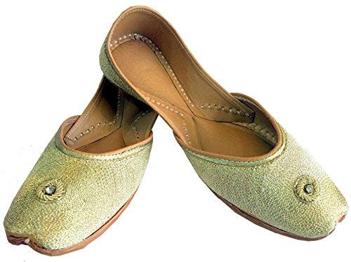 Étape N Style Femme Golden Zari panjabi jooti Khussa Chaussures Sandales plat ballerine njugy