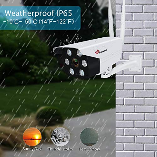 Floodlight Camera, Sanan 1080P Outdoor Security Camera Surveillance Cameras, IP Camera with Two-Way Audio, IP66 Waterproof, Night Vision, Motion Detection, Activity Alert, Deterrent Alarm iOS/Android