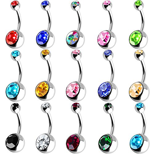 Outee 15 PCS Stainless Steel Belly Button Bars Balls Belly ...