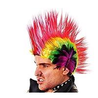 Multi Coloured Mohican Wig Rainbow Punk Rocker Jonny Rotten Fancy Dress