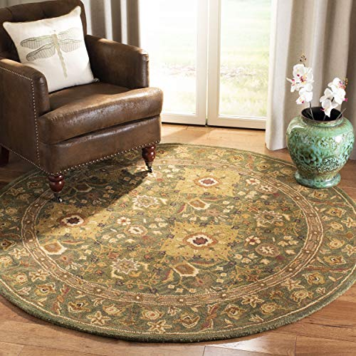 Safavieh Antiquities Collection AT57C Handmade Traditional Oriental Olive Wool Round Area Rug (6' Diameter)