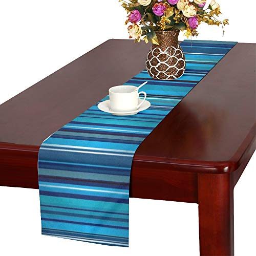 Bright Blue Stripe Abstract Ribbon Table Runner, Kitchen Dining Table Runner 16 X 72 Inch for Dinner Parties, Events, Decor