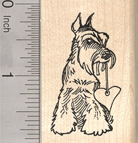 Valentine's Day Schnauzer Rubber Stamp, Dog with Heart