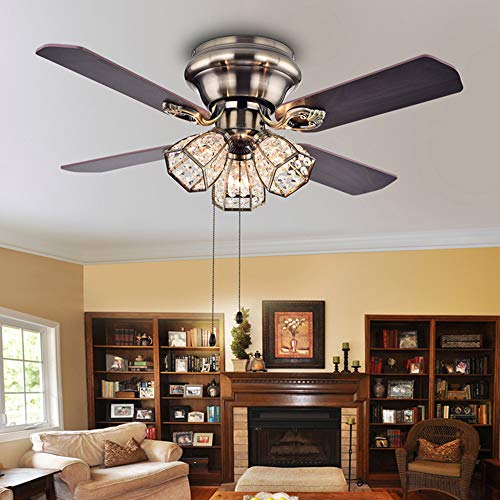 Andersonlight Flush Mount Indoor Ceiling Fan with Three Crystal Lights, Bronze (52inch with Light)