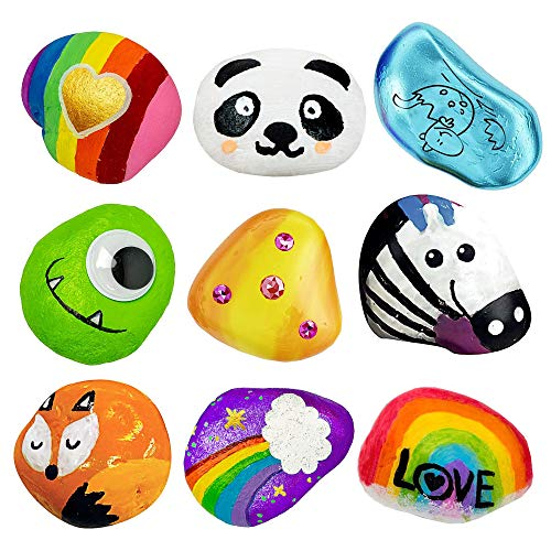 ANDSTON Rock Painting Kit for Kids, DIY Arts and Crafts Rock Painting Supplies Kits for Girls & Boys Ages 4 -12, Craft Kits Art Set - Supplies for Painting Rocks - Included 4 Colorful Eggs Gift
