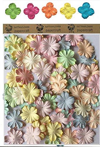 100 X Pastel Color Mulberry Five Petal Daisy Paper Flowers Scrapbooking Embellishment