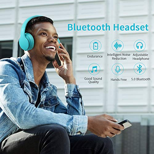 Bluetooth Headphones Over Ear, Comfortable Wireless Headphones, Rechargeable HiFi Stereo Headset, w/Wired Mode, CVC6.0 Microphone for Cellphone Online Class, Home Office, PC (Light Green)