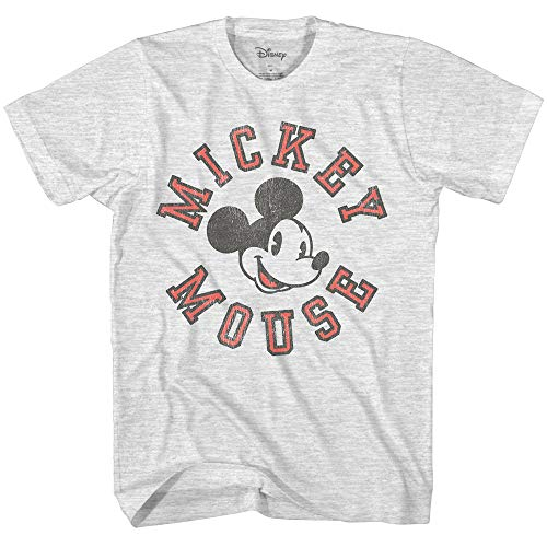 (Mickey Mouse Athletic Vintage Classic Disneyland World Men's Adult Graphic Distressed T-Shirt (Ash Heather, Small))