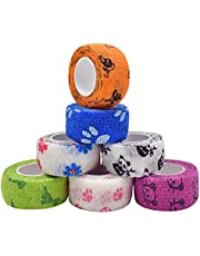 7 rolls of non-woven self-adhesive bandages(2.5cmx4.6m ), used for finger protection and nail protection, bandage wrap for dogs