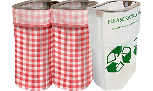 Party City Gingham Clean-Up Kit, 3 Pieces, With Matching Reusable Pop-Up Trash Bins, Plus a Handy Recycling Bin