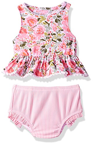 Mud Pie Baby Girls Floral Two Piece Tankini Swimsuit, Pink, 9-12 Months