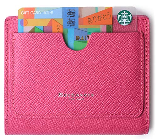 Small Compact Wallet for Women Rfid Blocking Leather Bifold Pocket Wallets Mini Zip Coin Purse with ID Window Pink