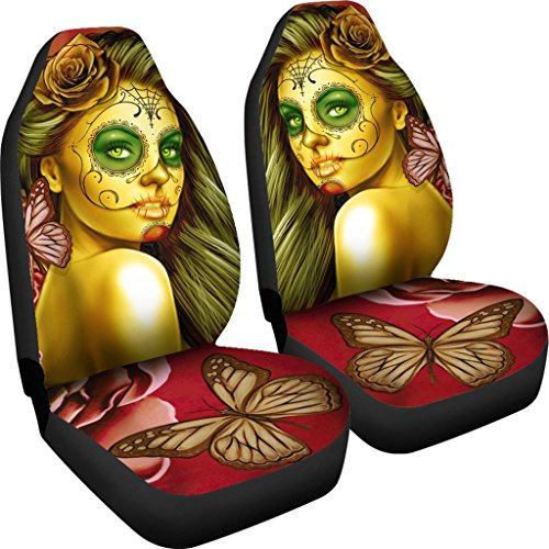 DealioHound Calavera (Day of The Dead/Dia De Los Muertos) Halloween Design #2 (Yellow) Microfiber Car Seat Covers/Protectors - Universal Fit (Set of -