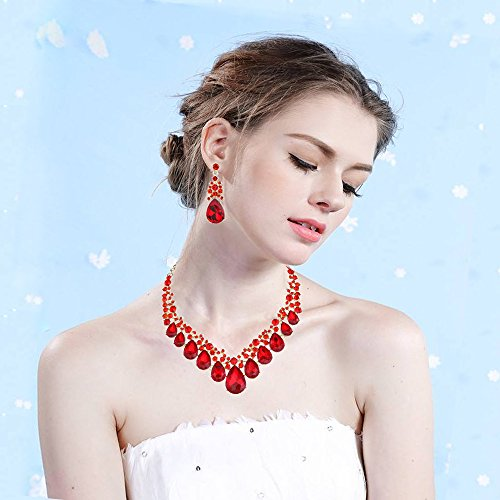 Youfir Bridal Rhinestone Crystal V-Shaped Teardrop Wedding Necklace and Earring Jewelry Sets for Brides Formal Dress (Red) by Youfir (Image #3)